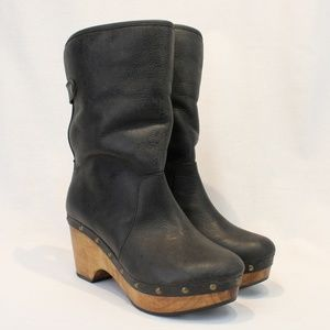 Cordani Gray Leather Faux Fur Lined Clog Boots